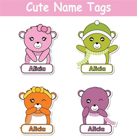 name tag design cartoon character vector cartoon illustration with colorful cute baby bears