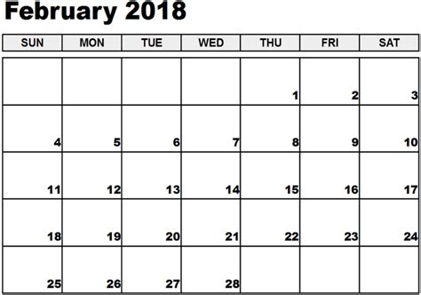 Printable Calendar 2018 Excel | february 2018 calendar excel calendar template letter