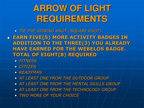 webelos arrow of light requirements ppt arrow of light requirements powerpoint presentation