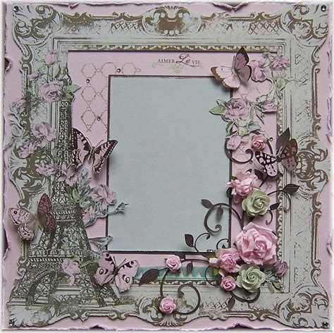 shabby chic premade 12x12 scrapbook layout paris france eiffel tower