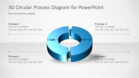 4 step segmented circular diagrams for powerpoint slidemodel 3d circular process diagram 4 steps for powerpoint