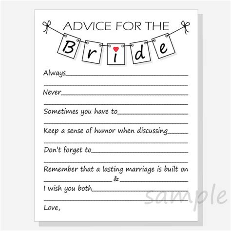 advice for the cards template diy advice for the printable cards for a bridal shower