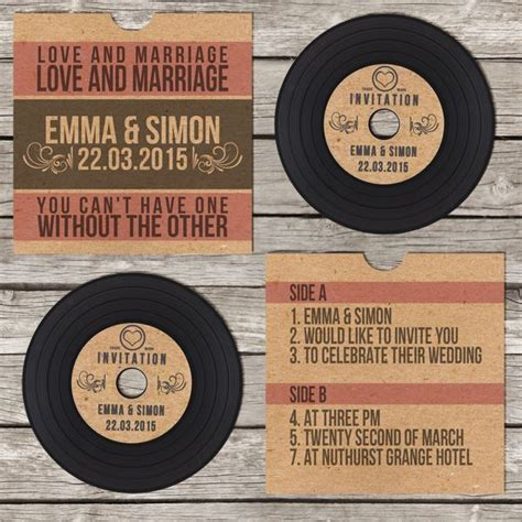 vintage record wedding invitations vinyl record vintage retro wedding invitation