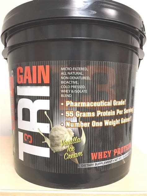 Whey Protein Gainer sportronic tri gain mass weight gainer whey protein vanilla 10 lbs ebay