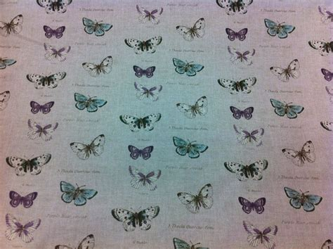 Butterfly Upholstery Fabric by Fryett S Vintage Butterflies Linen Look Thick Cotton
