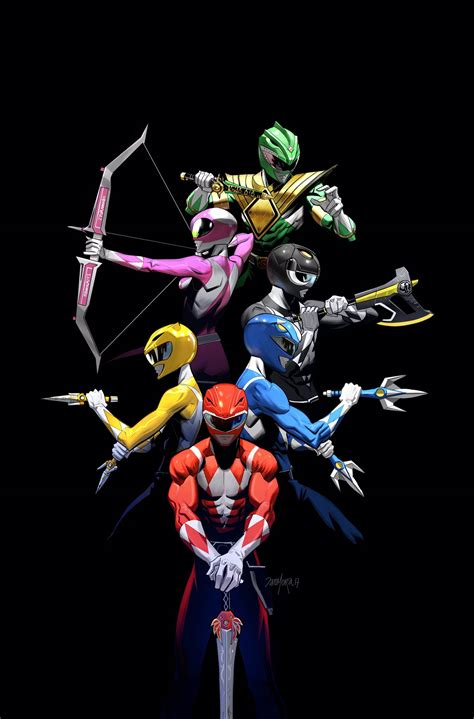 mighty morphin power rangers 2017 annual variant cover by
