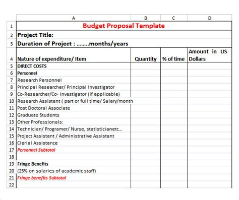 proposed budget template research budget
