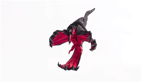 Origami Yveltal - origami from pearl black white x y