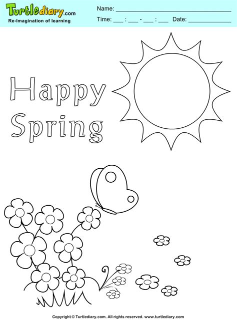 happy spring coloring pictures www imgkid com the