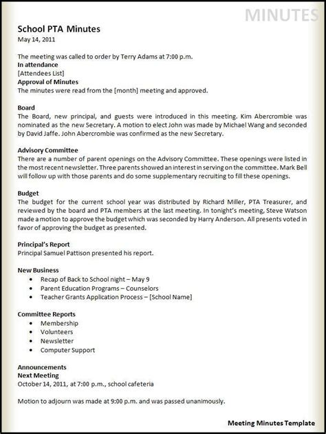 Meeting Minutes Template Free Word Templates Minutes Template