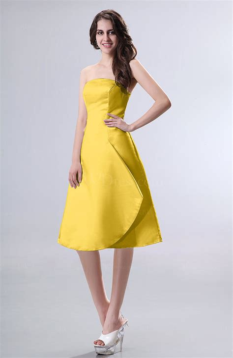 yellow simple   strapless zipper knee length draped