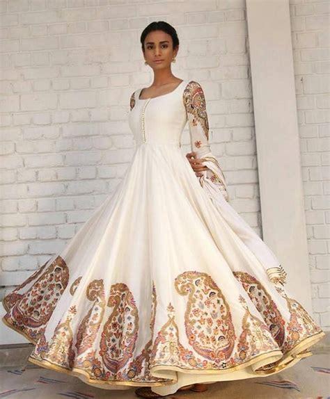 embroidered  white anarkali indian wedding