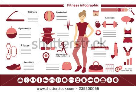 Fitness Infographics Elements 25 Pieces Icons Stock Vector 347947562 Shutterstock Fitness Infographic Template