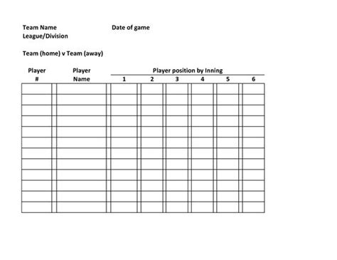batting lineup template baseball lineup defensive baseball roster template team