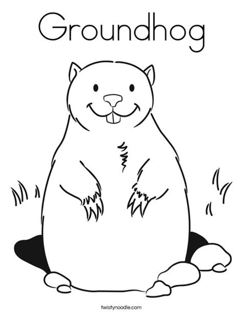 Groundhog Coloring Page Twisty Noodle Groundhog Day Coloring Page