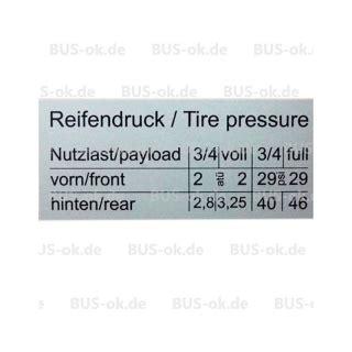 Vw Aufkleber Ausstattung by T2 Aufkleber Reifendruck F 252 R Tankklappe
