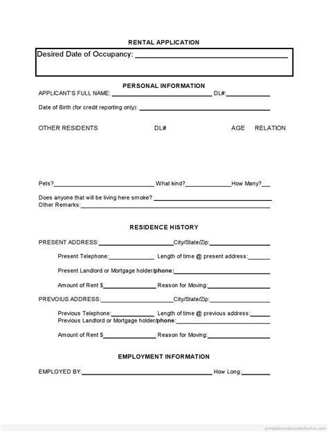 printable rental agreement bc application form rental application form in bc