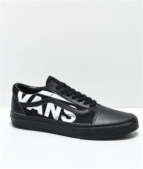 Vans Logo White vans skool white logo black skate shoes zumiez