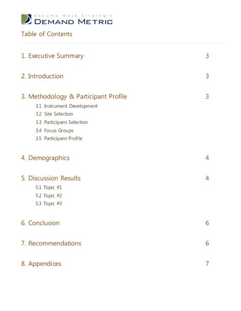 topic template focus report template