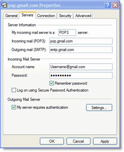 server gmail e mail configuration for outlook express
