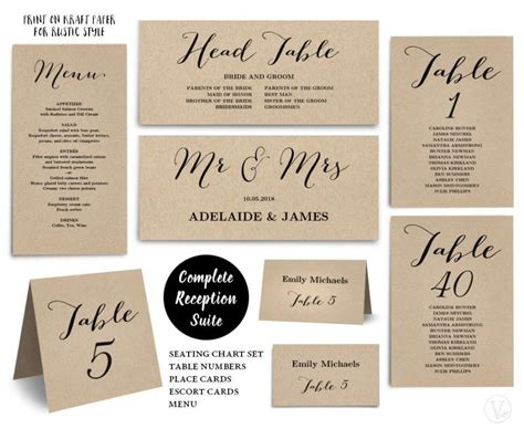 printable wedding seating chart template plus table