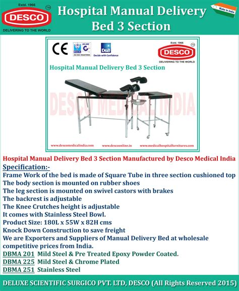 cataloguing section medical manual delivery bed 3 section manufacturers