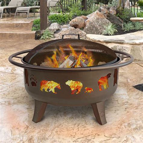 landmann firepit shop landmann usa 36 in w metallic brown steel wood