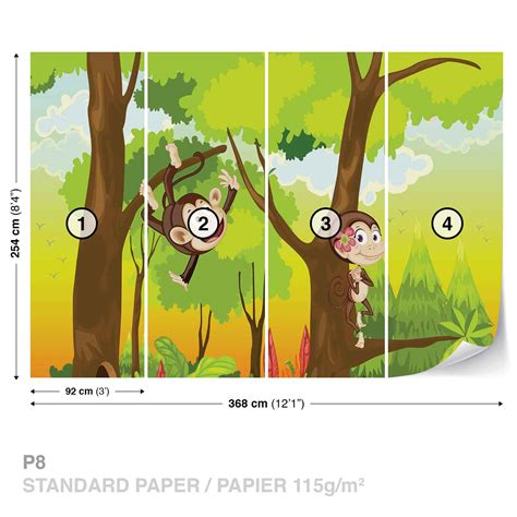 monkey wall murals monkeys boys bedroom wall mural photo wallpaper 2975dk