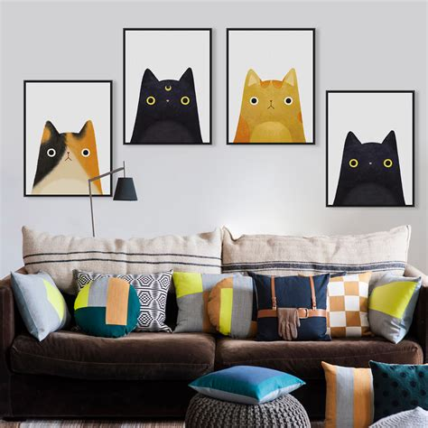 kawaii home decor modern watercolor kawaii cat face a4 poster print japanese
