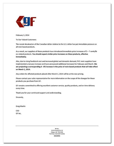 business letter sle price increase format business letter for price increase gallery