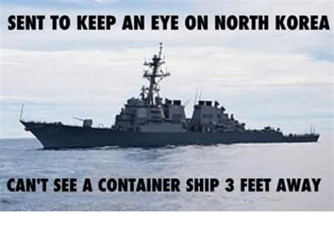 tugboat meme sent to keep an eye on north korea can t see a container