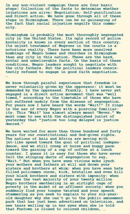 Mlk Letter From Birmingham Summary