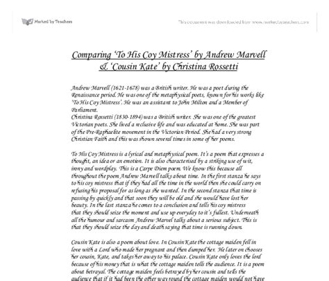 Cousin Kate Essay by Help Cant Do My Essay Comparison Of The By Eileen Mcauley And Cousin Kate By