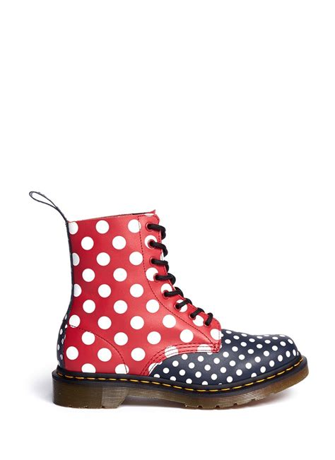 polka dot boots dr martens chay polka dot laceup leather boots in