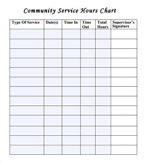 community service template community service hours worksheet mmosguides