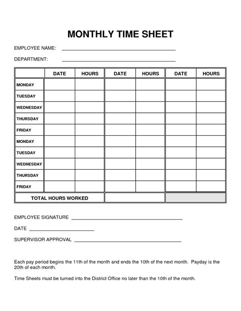 printable time sheets 8 best images of printable monthly time sheets free