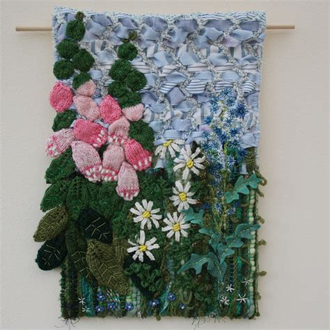 Handmade Tapestry Wall Hangings - foxgloves and daisies textile wall hanging folksy
