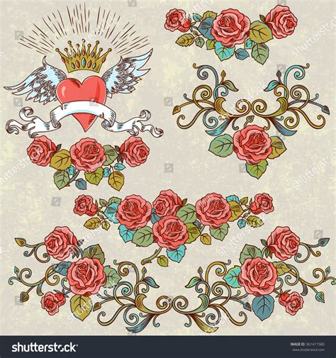 vintage heart tattoo designs vector set vintage stylized winged stock vector