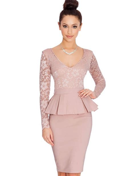 alibaba zalora nem065 long sleeve peplum dress deep v neck sexy lace