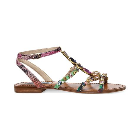 Steve Madden Flat Sandals by Steve Madden Womens Bjeweled Flat Sandals In Multicolor Bright Multi Lyst