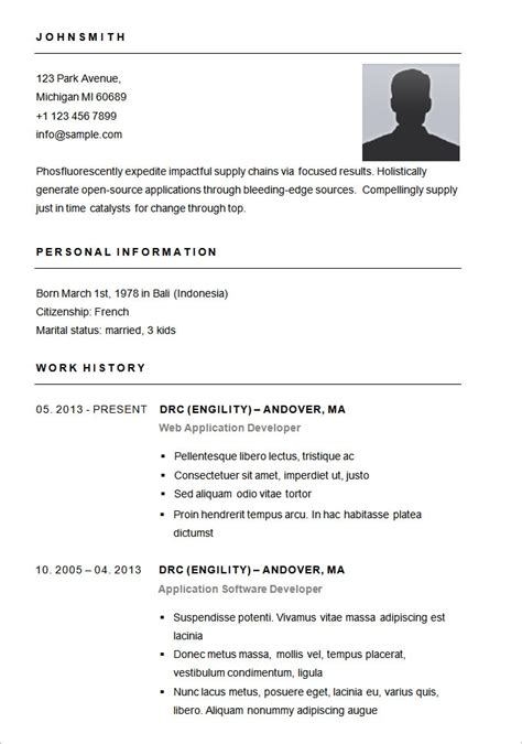 Resume Simple Sle Format Sle Simple Resume Format Best Resume Gallery