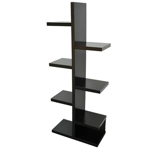 staggered bookshelves homcom modern free standing staggered shelf bookcase