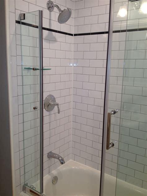 Tile Shower Doors Subway Tile Frameless Shower Door Bathroom Pinterest