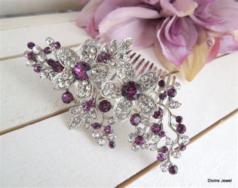 Vintage Purple Wedding Hair Accessories by Bridal Purple Swarovski Wedding Comb Wedding Hair