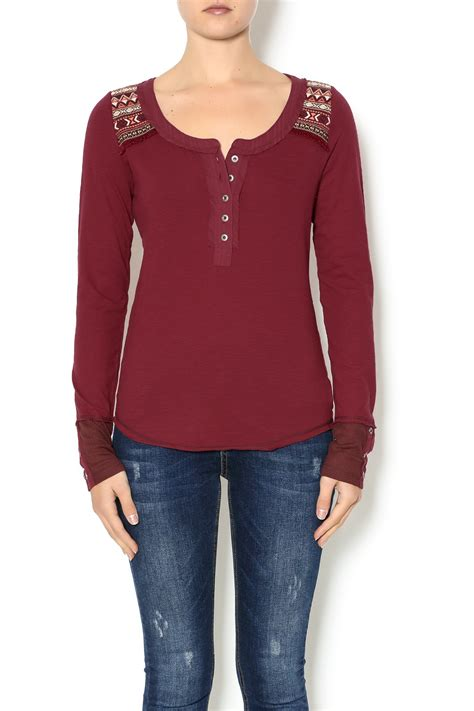 New Miss Marun miss me maroon henley top from new york by shoptiques