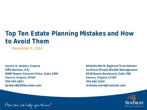 10 Most Common Estate Planning Mistakes And How To Avoid Them top ten estate planning mistakes and how to avoid them