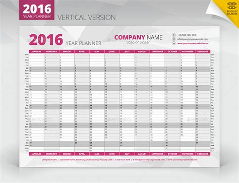 printable vertical year planner 2016 year wall planner graphicriver