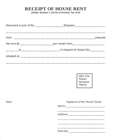 house rent receipt template pdf 8 sle rent receipt in pdf sle templates
