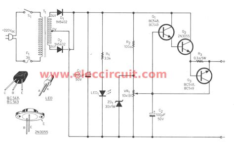 circuit schematic variable power supply circuit 0 30v 2a eleccircuit