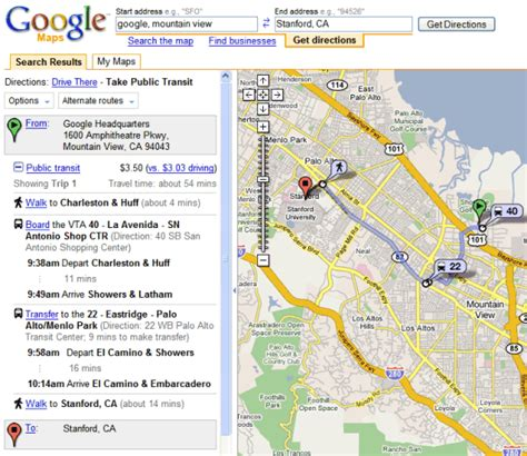 googole maps transit directions in maps